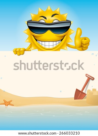 Cartoon sun character holding a banner in the beach - stock photo