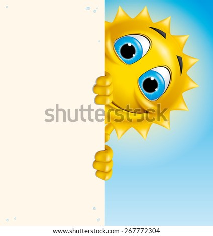 Cartoon sun character holding a vertical banner - stock photo