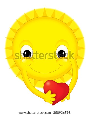 Cartoon sun on valentine - isolated - illustration for the children