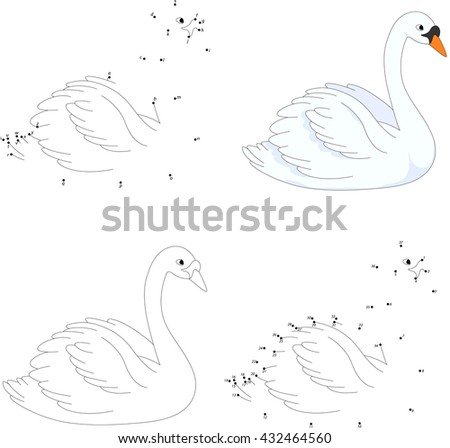 Cartoon swan. Coloring book and dot to dot educational game for kids - stock photo