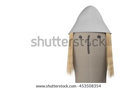 cartoon textile doll head 3d illustration - stock photo