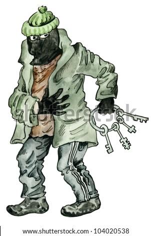 cartoon thief under the mask with skeleton key - stock photo