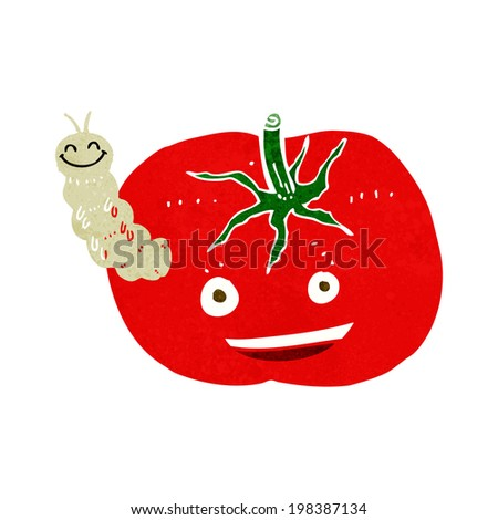 cartoon tomato with bug