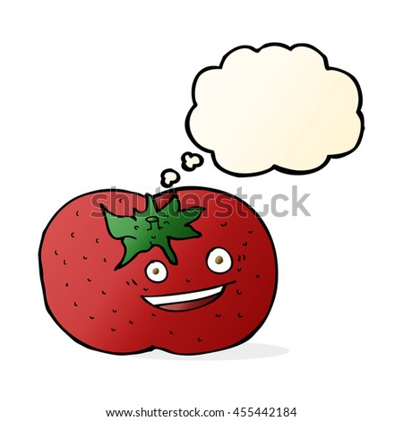 cartoon tomato with thought bubble