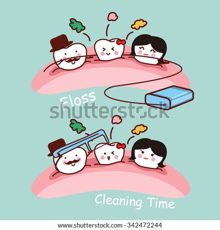 cartoon tooth family with dental floss, great for health dental care concept - stock photo
