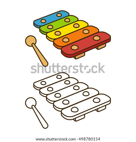 cartoon toy xylophone drawing coloring book illustration