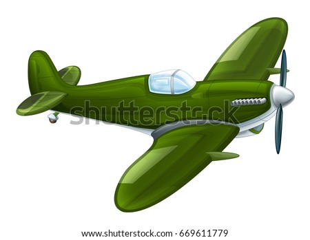 Cartoon Traditional Military Plane With Propeller Flying