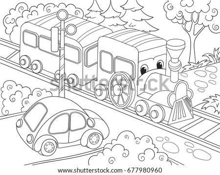 Cartoon Train And Car Coloring Book For Children Raster Illustration Black White