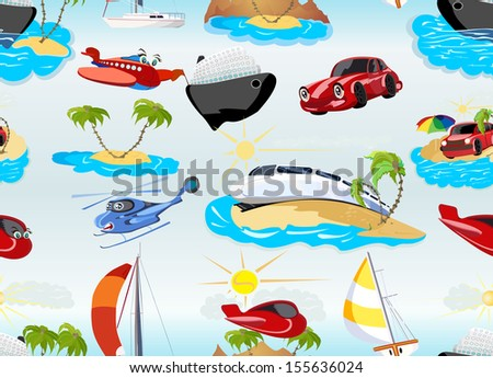 Cartoon transport seamless background - stock photo