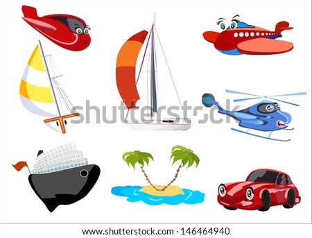 Cartoon transport set - stock photo