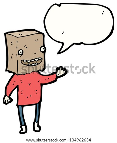 cartoon ugly man with bag on head - stock photo