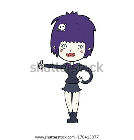 cartoon vampire girl giving thumbs up sign