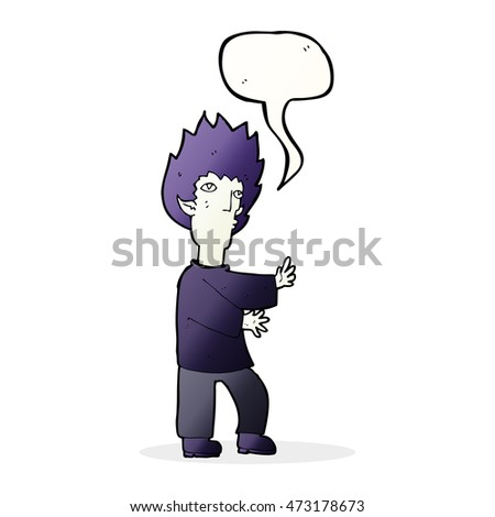cartoon vampire man with speech bubble