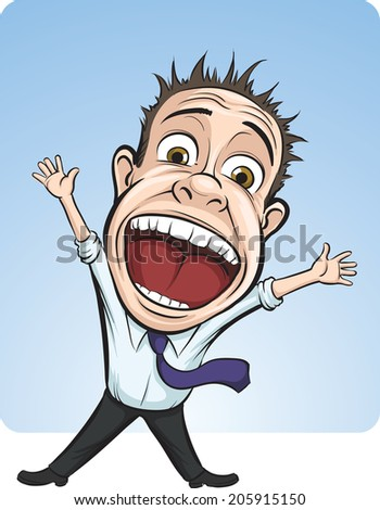 cartoon vector screaming business person - stock photo