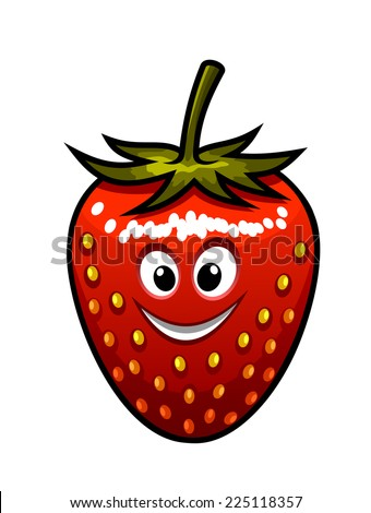 Cartoon vectorof a ripe red happy smiling fresh strawberry with a green stalk and googly eyes suitable for kids isolated on white