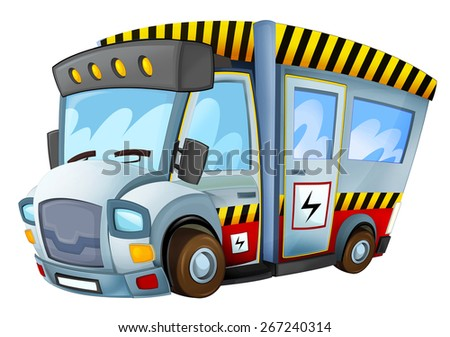 Cartoon vehicle - caricature - electricity car - illustration for the children - stock photo