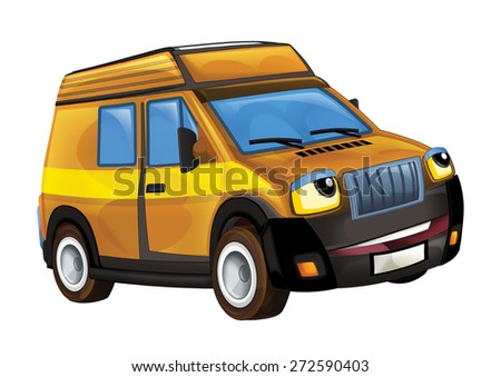 Cartoon vehicle - delivery truck - illustration for the children