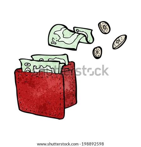 cartoon wallet spilling money - stock photo