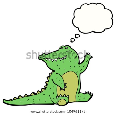 cartoon waving alligator