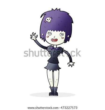 cartoon waving vampire girl