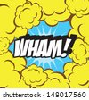 cartoon - wham (comic book) Background clouds retro  - stock vector