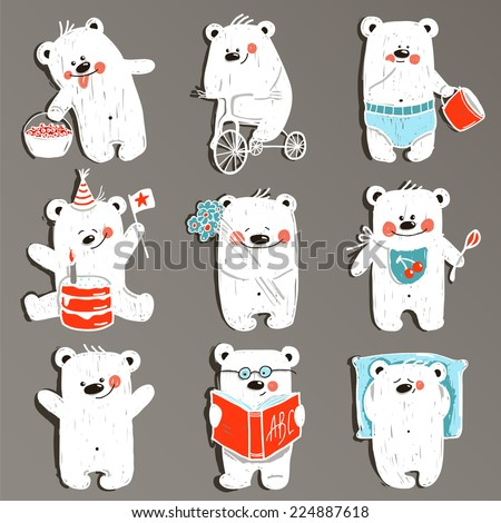 Cartoon White Baby Bears in Action Collection. Nine hand drawn  simple childish bears set. Raster variant. - stock photo