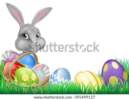 Cartoon white Easter bunny with a basket full of decorated chocolate Easter eggs in a field