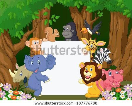 Cartoon wild animal holding blank sign - stock photo