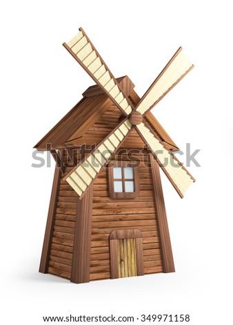 Cartoon windmill isolated on white background. 3d illustration - stock photo
