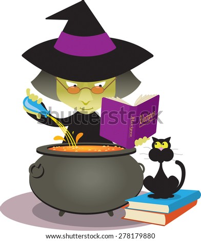 Cartoon witch brews a magic potion in her cauldron as her black cat watches. Raster illustration. - stock photo