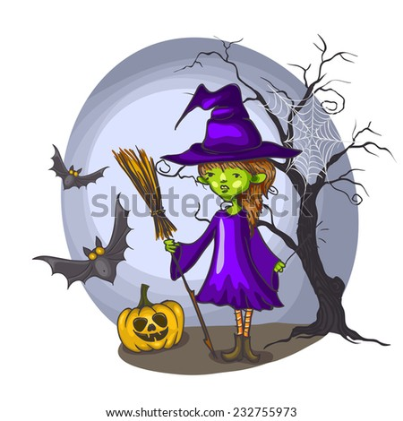Cartoon Witch Girl With Bat, Broom And Pumpkins On Halloween Background
