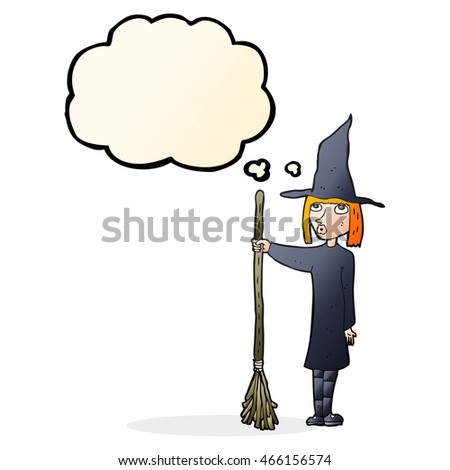 cartoon witch with thought bubble