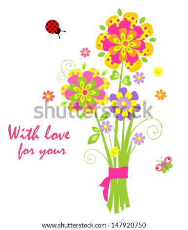 Cartoon with greeting bouquet. Raster copy of vector image - stock photo