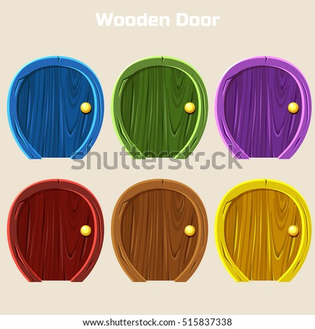 Cartoon Wooden Colorful Rounded Door For Ui Game & Round Door Stock Images Royalty-Free Images u0026 Vectors | Shutterstock pezcame.com