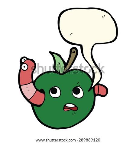 cartoon worm in apple with speech bubble - stock photo
