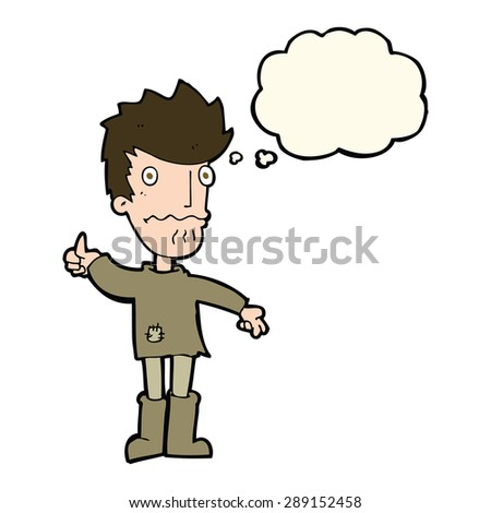 cartoon worried man giving thumbs up symbol with thought bubble - stock photo