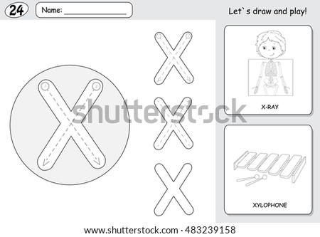 Cartoon X Ray Boy And Xylophone Alphabet Tracing Worksheet Writing A Z Coloring