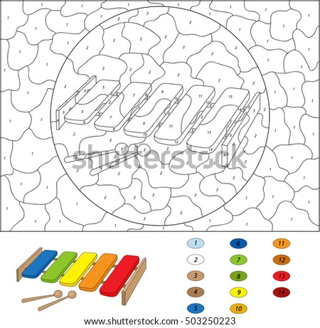 Cartoon Xylophone Coloring Book Isolated On White Color By Number Educational Game For Kids