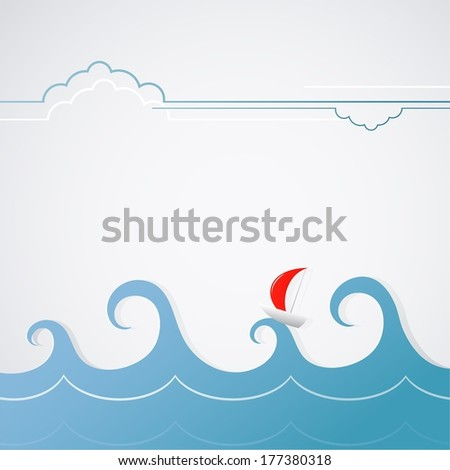 Cartoon yacht with stormy waves - stock photo