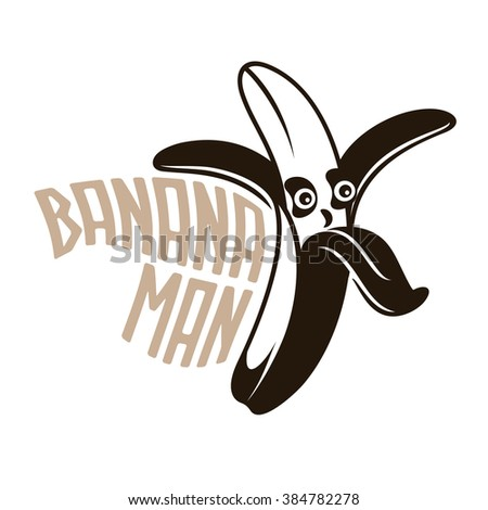 Cartoon Yellow Peeled Banana. Happy Banana. - stock photo
