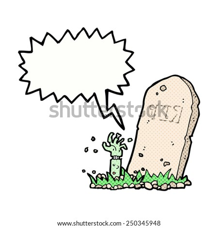 cartoon zombie rising from grave with speech bubble - stock photo