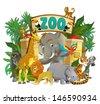 Cartoon zoo - amusement park - illustration for the children, XXL file - stock