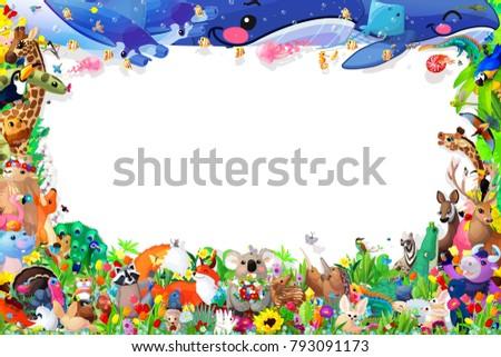 cartoon zoo animals frame template cute stock illustration 793091173