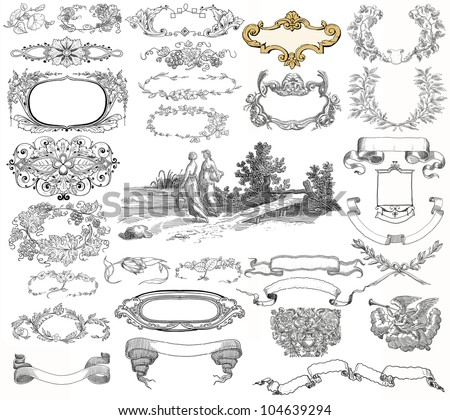 Cartouche set illustration - stock photo