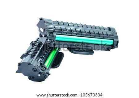 Cartridge for laser printer on white background - stock photo