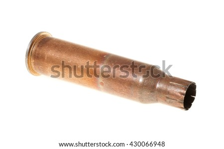 cartridge from a rifle, isolated on white background - stock photo