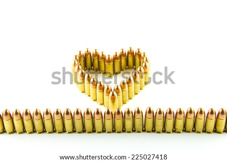 cartridge made heart on white background.