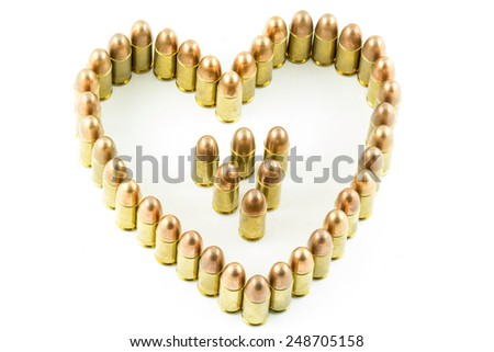 cartridge made heart on white background. - stock photo