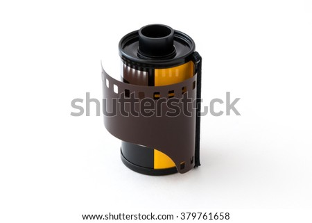 Cartridge of 35 mm negative photo film on white background - stock photo