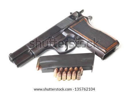 Cartridges, armed holder and discharged gun isolated on white background - stock photo